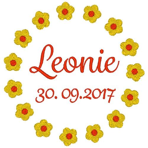 Blumenkreis mit Name und Datum