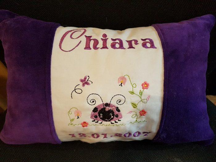 Kuschelkissen lila mit Name und Käfer